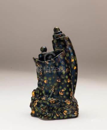Porcelain Black Glaze Brush Pot, Qianlong Mark