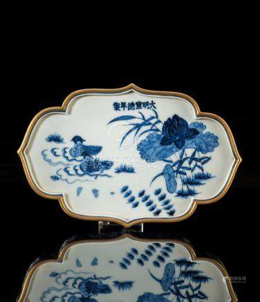 Blue And White Gilt-gold Porcelain Template