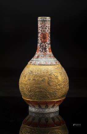 Gilding Gold Enamel Porcelain Vase, Qianlong Mark