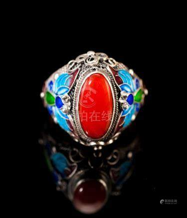 Silver Chain Cloisonne Coral Ring 1900s