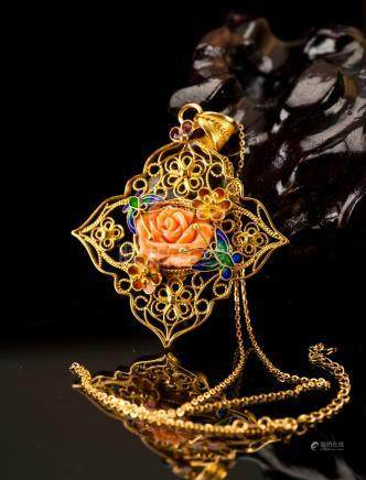 Gilt Gold Silver Chain Cloisonne Red Coral Pendant