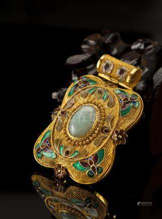Gilt Gold Silver Chain Cloisonne Jade Pendant