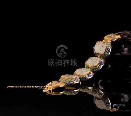 Gilt Gold Silver Chain Cloisonne Jade Bracelet