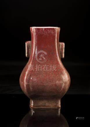 Cowpea Red Glaze Qing Style Vase, Marked Kangxi