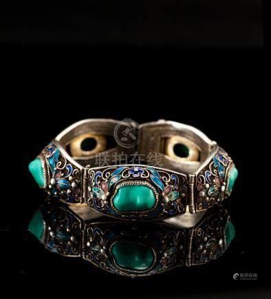 Sliver Filigree Turquoise Bluing Bracelet