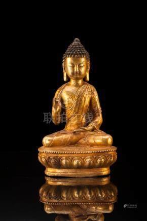 BUDDHA SHAKYAMUNI, Gilt Copper Marked Ming Yongle