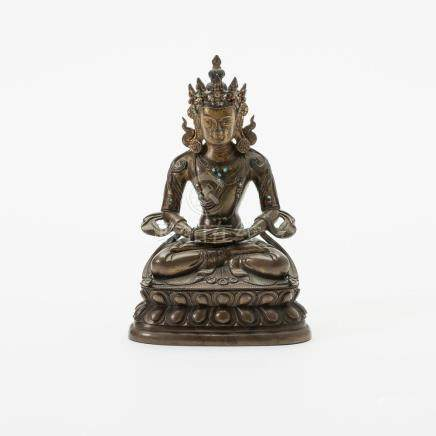 A Chinese bronze figure of Buddha Amitayus