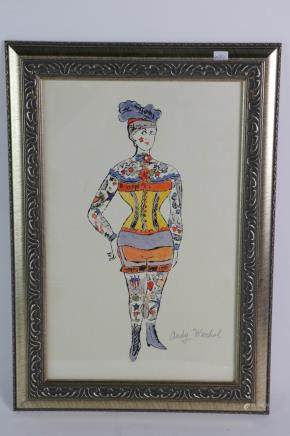 Andy Warhol Water Color Lady with Frame