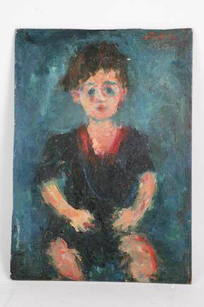 Chaim Soutine Oil on Board Painting of a Boy 1930