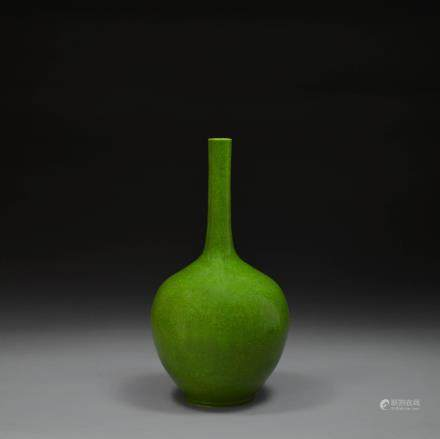 An Emerald Green Glazed Porcelain Bottle