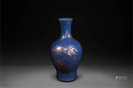 A Gilt Decorated Blue Glazed Dragon Vase