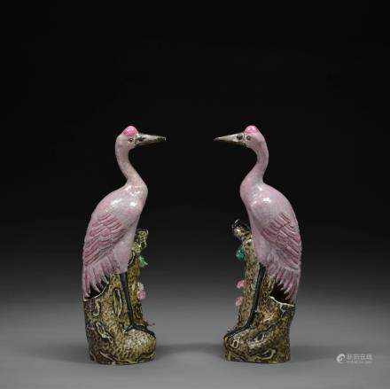 A Pair of Famille Rose Figures of Herons