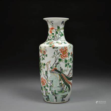 A Famille Verte Vase of Cylindrical Form