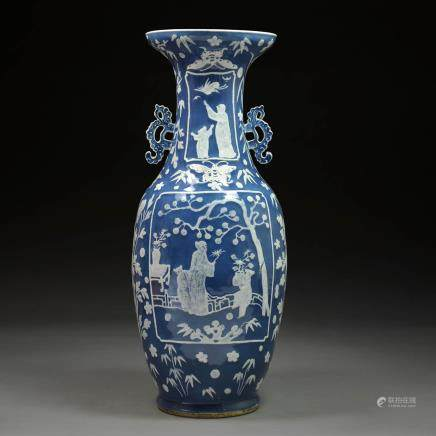 A Chinese Blue Glazed Baluster Vase