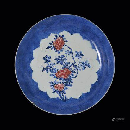 A Large Powder-Blue-Ground Copper-red Prunus Dish