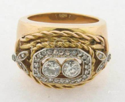 Art Deco 14K Gold Designer Ring with 35 Diamonds