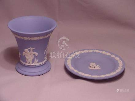 2 Light Blue and White Wedgwood Items 1 Vase and 1 Tray