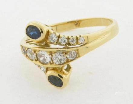 Beautiful Sapphires Diamonds 18K Gold Ring Double Snake