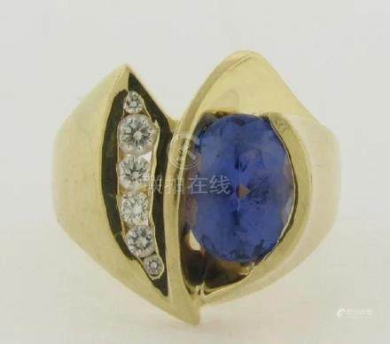 Tanzanite Diamonds 14k Gold Designer Ring
