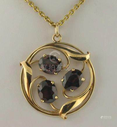 Vintage 14K Gold 3 Oval Garnets Pendant More Than 7