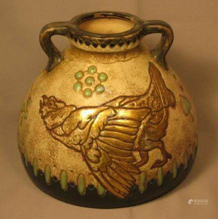 Unusual Amphora Pottery Handled Vase With Bird