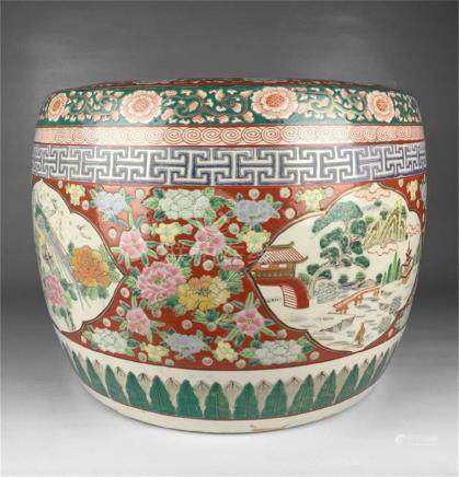 Chinese famille rose flower porcelain jar