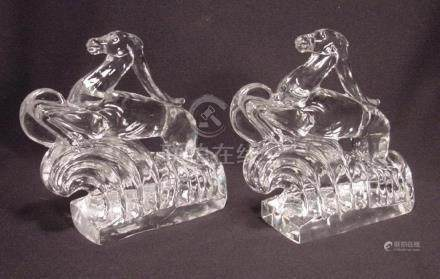 Rare Pair Steuben Glass Gazelle Book Ends Shape # 7399