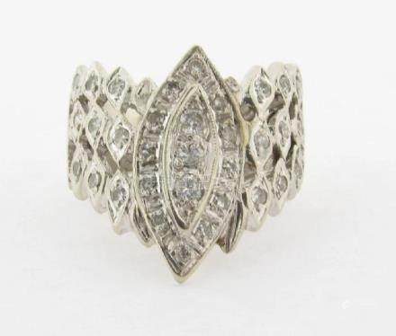 14k White Gold 33 Diamonds .72C Designer Ring