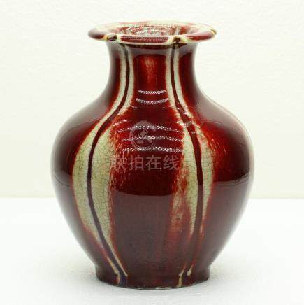 Chinese Lang-Red glaze porcelain vase of Qing Dynasty