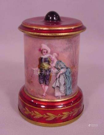 Beautiful Antique French Enamel Decorative Urn Man &