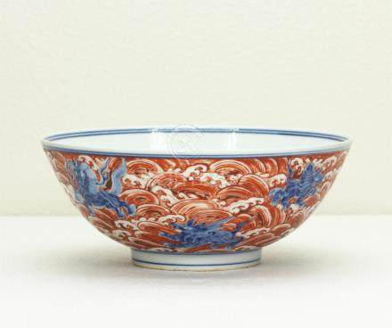 Chinese blue and white & red color porcelain bowl of