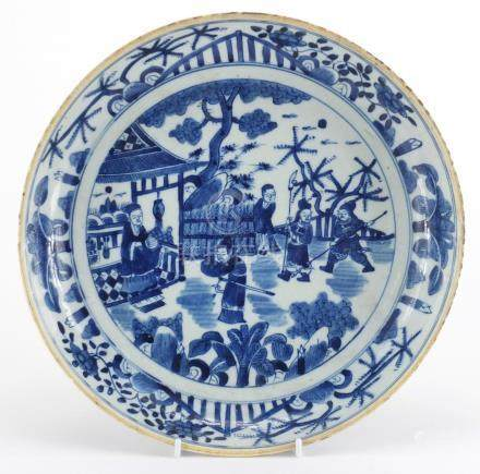 Chinese blue and white porcelain shallow dish, hand painted with figures and warriors in a Pavilion,