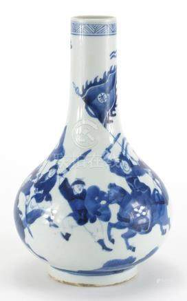 Chinese blue and white porcelain vase, hand painted with warriors, six figure character Kangxi marks