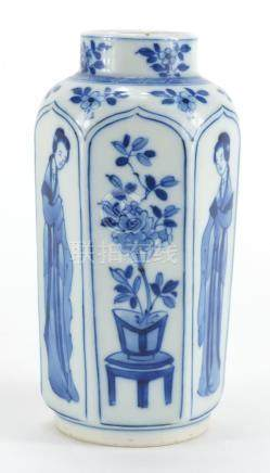 Chinese blue and white porcelain hexagonal vase, hand painted six with panels of young females and