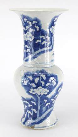 Chinese blue and white porcelain Yen Yen vase, hand painted with Prunus flowers, blue ring marks
