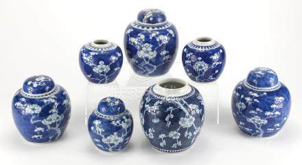 Seven Chinese blue and white porcelain ginger jars four with covers, each hand painted with Prunus