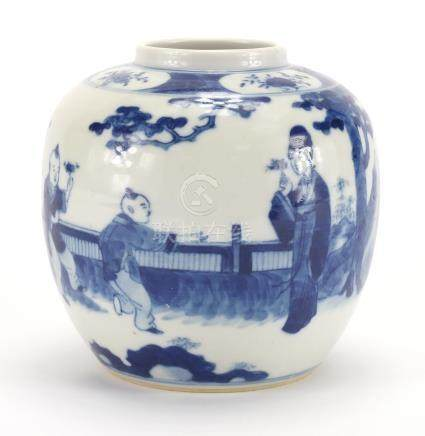 Chinese blue and white porcelain ginger jar, hand painted with figures and blue ring marks to the