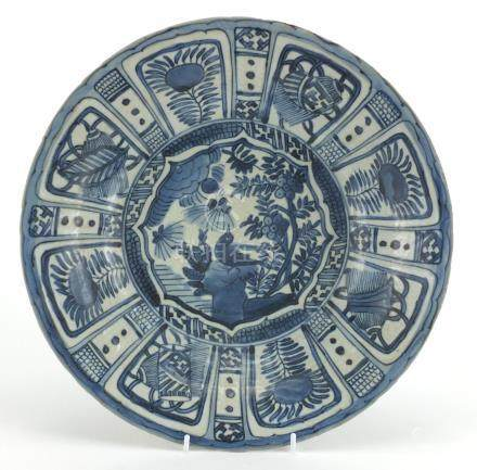 Chinese blue and white porcelain dish, hand painted with a birds and flowers, 32cm in diameter :
