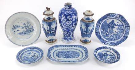 Chinese porcelain including blue and white baluster vase and blue and white dishes, the largest 27.