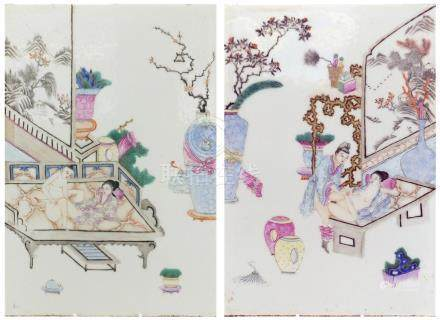Pair of Chinese porcelain panels, each hand painted in the famille rose palette with erotic scenes