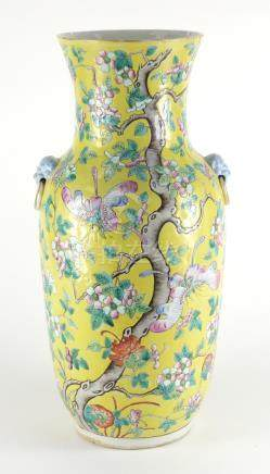 Chinese porcelain yellow ground vase, with animalia ring handles, finely hand painted in the famille