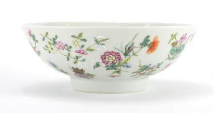 Chinese porcelain footed bowl, finely hand painted in the famille rose palette with crickets amongst