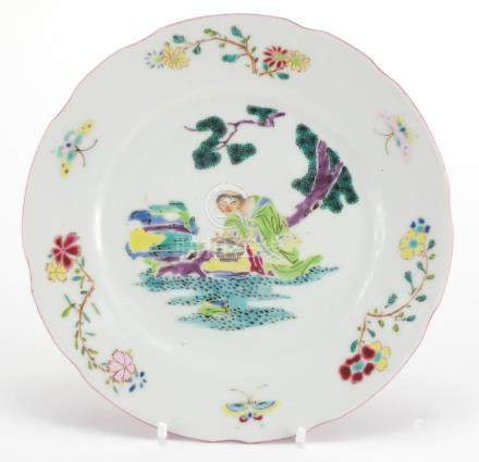 Chinese porcelain dish, hand painted in the famille rose palette with a figure before pine tree, the
