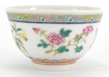 Miniature Chinese porcelain footed bowl, finely hand painted in the famille rose palette with