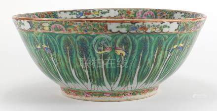 Chinese porcelain Canton bowl, hand painted with butterflies and cabbage leaves, 30cm in diameter :