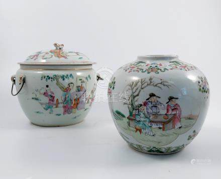 A covered Chinese jar, decorated with figures all around in a landscape, height 7.75ins, together