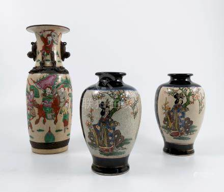 A Chinese vase, decorated with figures in an all around landscape on a cracked ice style ground,