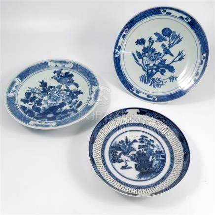 Two Japanese plates, decorated in blue and white with birds in foliage, diameter 11ins, together