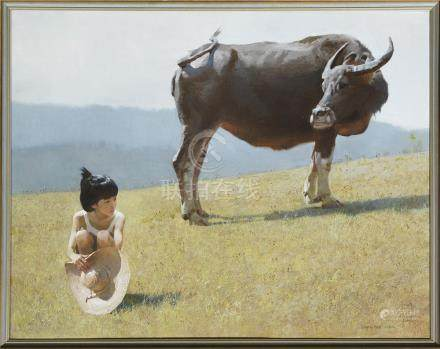 CHEN YAN NING (1945-) YOUNG GIRL WITH AN OX A Chinese painting, oil on canvas, signed Chen Yan Ning,
