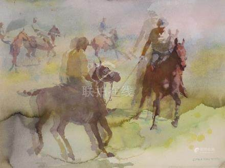 CHEN YAN NING (1945-) POLO PLAYERS A Chinese painting, watercolour, framed and glazed, one of the